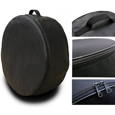 "Black Wheel Cover Spare Tire Holder Seasonal Storage Protector Bags 14-17"" s. XL"