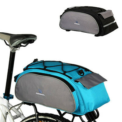 ROSWHEEL Cycling Bicycle Bike Rear Rack Seat Bag Leather Pouch Outdoor 13L