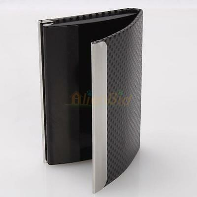 Aluminum and Metal Leather Business ID Credit Card Holder Case Wallet Box Grey