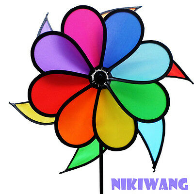 Outdoor Wind Spinners For The Garden With Swing Rainbow Directional Pinwheel