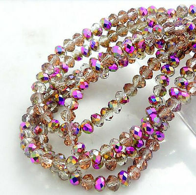 Wholesale Crystal Glass Rondelle Faceted Loose Bead Spacer Beads DIY 3/4/6/8mm