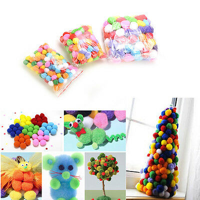 100X 10mm Mixed Color Soft Fluffy Pom Poms for kids Crafts 20mm 30mm 40mm WK1