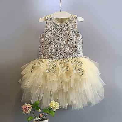 Baby Girls Flower Party Wedding Birthday Princess lace  Dress with Diamond