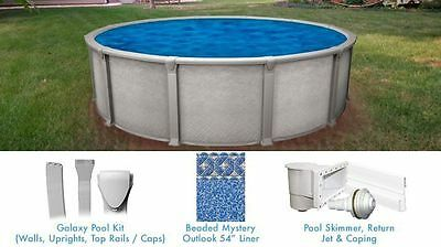 Galaxy 18 ft Round Above Ground Pool with Liner and Skimmer Salt Water Friendly