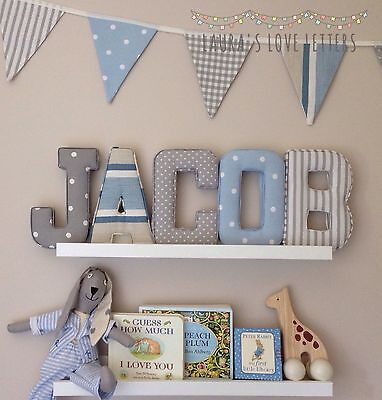Bunting, Fabric Letters, baby gift, personalised wall art, girl, boy, nursery