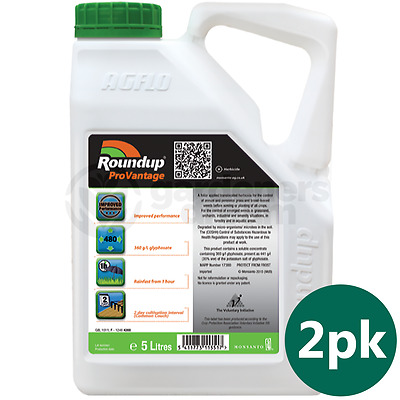 Roundup ProVantage 480 Glyphosate Weedkiller 2 x 5 Litre Strong Professional