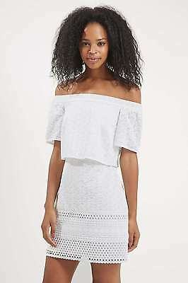 TOPSHOP Embroidered Bardot Dress, WHITE, RRP £50, SIZE 6-16