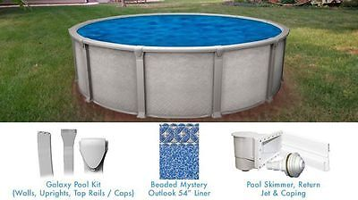 Galaxy 15 ft Round Above Ground Pool with Liner and Skimmer Salt Water Friendly