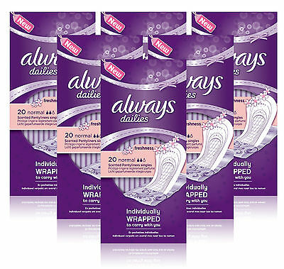 6x Always Dailies NORMAL SCENTED 20 Individually Wrapped Pantyliners Singles