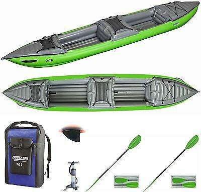 Gumotex Helios 2 Tandem Touring Kayak with Dry Bag, Fin, Paddles and Pump -Green