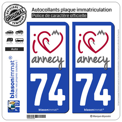 2 Stickers autocollant plaque immatriculation auto : 74 Annecy - I'm