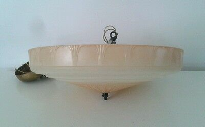 Art Deco Glass Bowl Iceberg Trim Light Shade Biscuit Yellow
