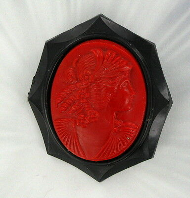 Vintage Antique Bakelite Or Celluloid Cameo