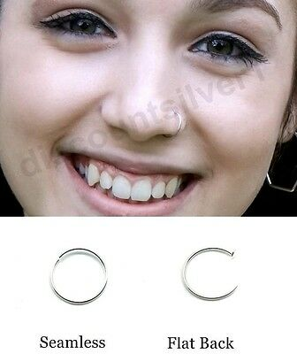 Sterling Silver Thin Small Silver Nose Ring Hoop 0.6mm Cartilage Stud Piercing
