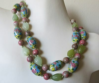 Such Lovely Vintage Chinese Carved Jade Rhodonite Porcelain Beads Necklace 35""