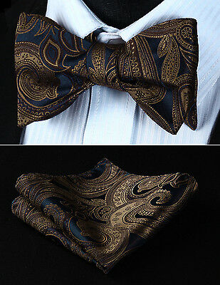 BP708ZS Brown Navy Blue Paisley Silk Bowtie Men Self Bow Tie handkerchief set