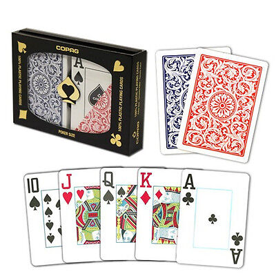 New COPAG Plastic Playing Cards Poker Size Jumbo Index Red Blue FREE CUT CARD