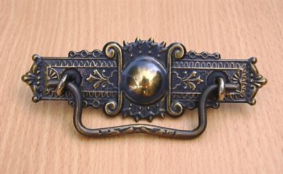 Drawer Pull Eastlake Stamped Brass Aged