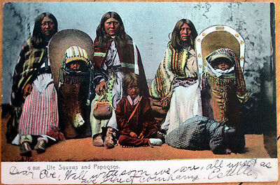 1906 Native American Postcard: Ute Indian Squas and Papooses
