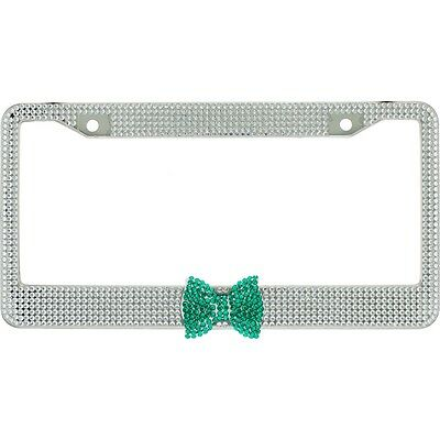 Clear 7 Rows Bling Diamond Crystal License Plate Frame With Corner Green Bow Tie
