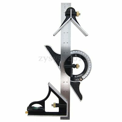 "12"" Combination Measuring Angle Tool Rule Tri- Square Ruler Steel Machinist"