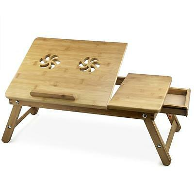 UK Portable Bamboo Laptop Table Bed Tray PC Desk - Folding Legs + Cooling Vents