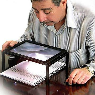Large Hands Free Magnifying Glass 4X With LED Light Magnifier For Reading