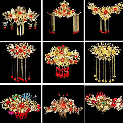 Chinese Style Costume Bride Gold Hair Tiaras Wedding Hair Accessory Headpiece