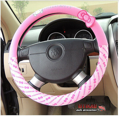Car Styling Hello Kitty Car Steering Wheel Cover Cartoon Interior Accessories #2