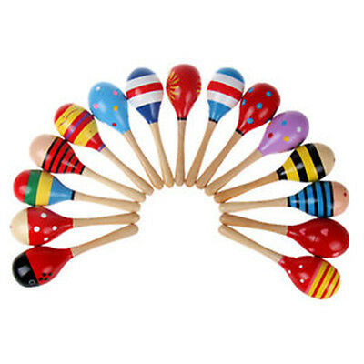 Infant Baby Kid Wooden Ball Toy Rattle Sand Hammer Percussion Musical Instrument