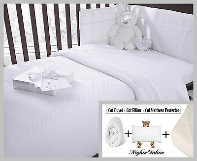 Cot Bed Package Deal, Includes Cot Duvet + Cot Pillow + Cot Mattress Protector