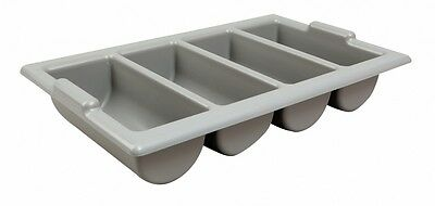Grey Plastic Cutlery Tray 4 Compartment Catering Restaurant Canteens Kitchen