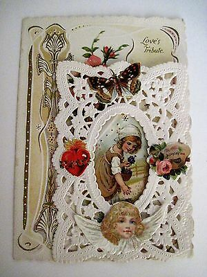 Vintage Antique Victorian Valentine w/ A Butterfly & Beautiful Angel Face *