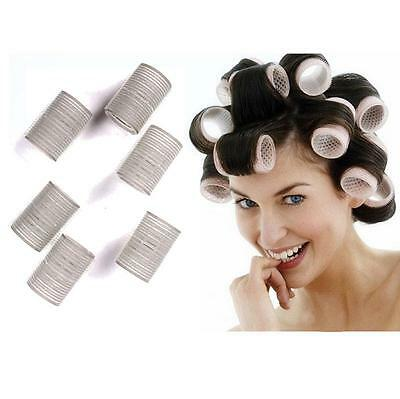 12 x Large Self Cling Rollers Curlers Hair Style Salon Care DIY Making Tool Big
