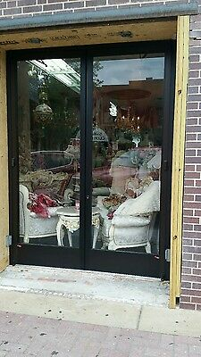 "Aluminum commercial storefront glass entry door. Fits opening of 76 x 101"" NEW"