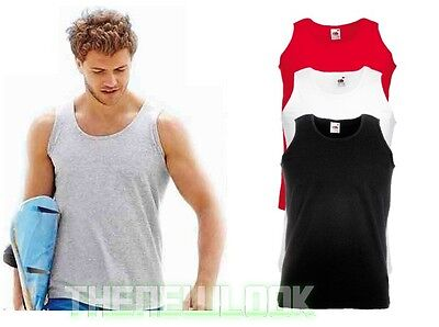 Pack Of 3 Fruit Of The Loom Vest Plain Athletic Tank Top Gym Training Summer