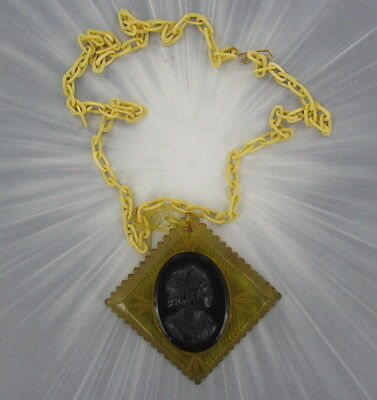 Antique  Bakelite  Cameo Pin And 24 Inch Chain ---- Diamond Shaped
