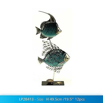 Large Metal Marine Fish Home Ornament Contemporary Sculpture Bathroom Decor