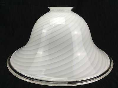 LARGE White Milk Swirl Spiral Glass Light Pendant Shade Bell Italian Made Thick