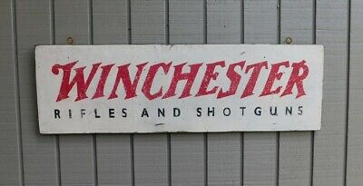 Primitive Vintage Winchester Rifles & Shotguns Replica Trade Sign