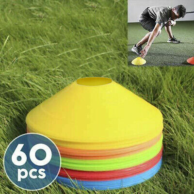 60 Pack Training Discs Markers Cones Soccer Rugby Fitness Exercise Sports