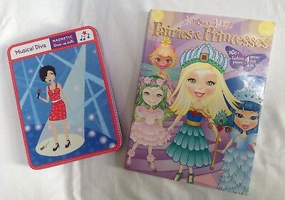 New Fairy & Princess Paper & Musical Diva Magnetic Dress Up Dolls Lot Set