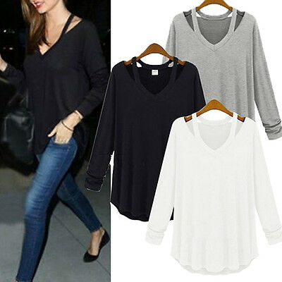 Women V-neck Plus Size Tops Loose Long Sleeve T-Shirt Casual Blouse Fashion