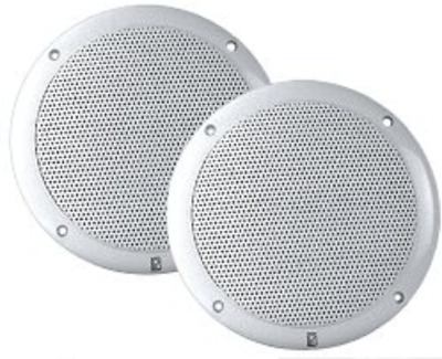 "PolyPlanar 4"" inch Round 2-Way Coax Waterproof Marine Boat Speakers (Pair) White"