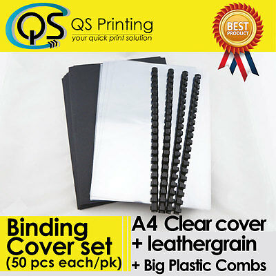 50 sets of A4 PVC clear Cover + A4 Black Leathergrain Cover + Big Binding Combs