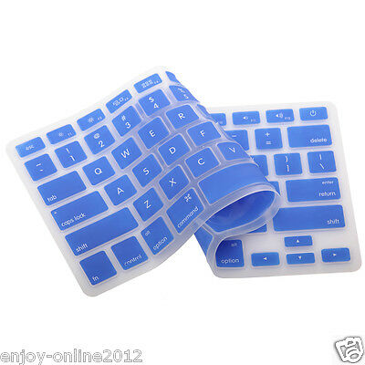 """Silicone Keyboard Cover Skin for Apple Macbook Pro MAC 13"""" 15"""" 17"""" Blue US Ship"""