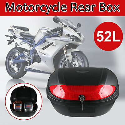 OZ 52L Motorcycle Universal Scooter Top Tail Box Rear Storage Luggage + 2 Keys