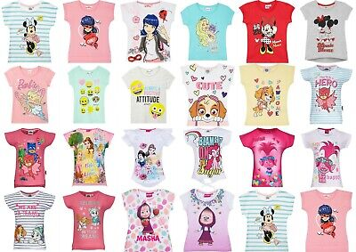 Girls Kids Disney Characters Frozen Masha Paw Patrol T-Shirt Top 1,5-12 years