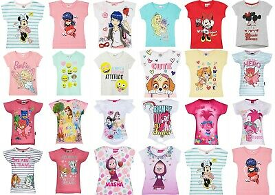 Girls Kids Teenage Disney Characters Masha Paw Patrol T-Shirt Top 1,5-12 years