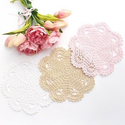 Crochet doilies white , light pink and cream 20 cm for millinery and crafts